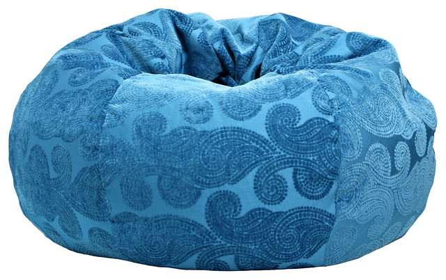 Extra Large Morocco Peacock Bean Bag, Teal mediterranean-bean-bag-chairs - Extra Large Morocco Peacock Bean Bag, Teal - Mediterranean - Bean