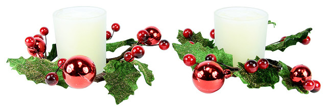 pack of 2 iced pine cone holly berry christmas candle rings with candles - Decorative Christmas Candle Rings