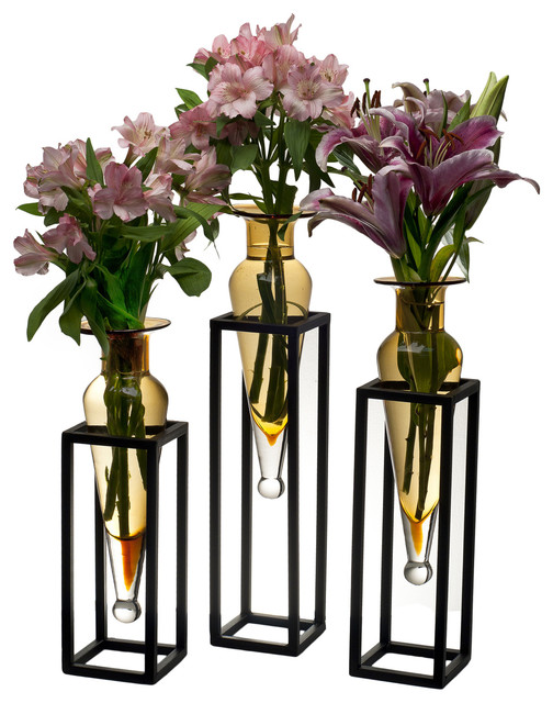 Set of 3 Amphorae Vases on Square Tubing Metal Stands - Contemporary Flower Vases With Stands on planter stand, flower crystal stand, flower pot stand, flower lamp stand, flower bouquet stand, flower bowl stand, flower column stand, fireplace stand, flower basket stand, flower table stand, flower plant stand, flower tree stand, flower box stand, flower display stands, flower pedestal stand, clock stand, flower shop stand, flower bucket stand, flower garden stand, teapot stand,