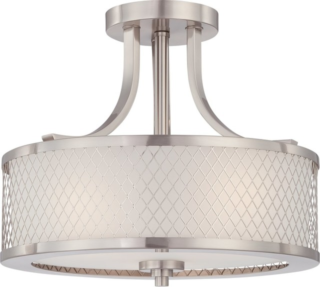Nuvo Lighting 60/4692 Brushed Nickel Fusion 3-Light Semi-Flush Indoor Ceiling.