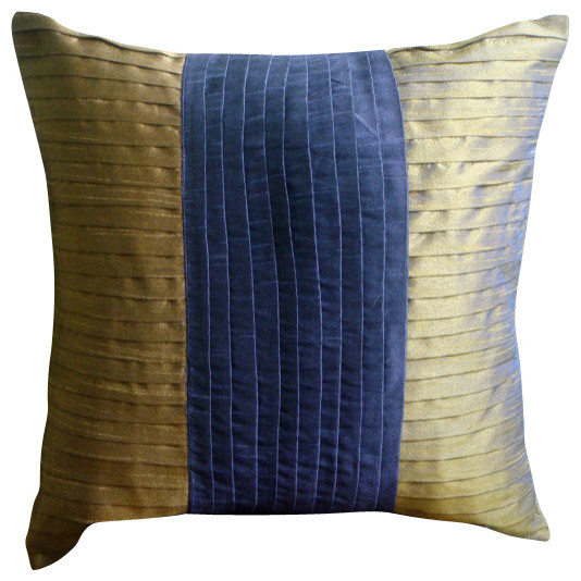 Purple Art Silk 18x18 Blue And Gold Color Block Pillows Cover, Purple & Gold.