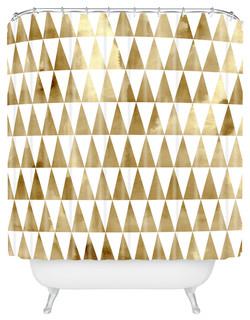 Georgiana Paraschiv Triangle Pattern GoldShower Curtain, Extra Long
