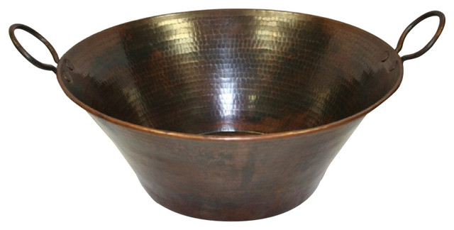 """16"""" Round Hammered Copper Rustic Vessel Cazo Sink With Handles."""