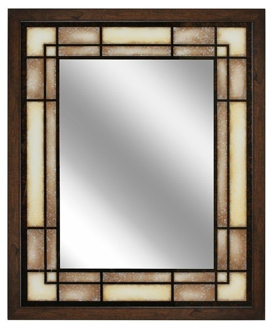"Tea Glass Rectangle Mirror, 25""x31"". -2"