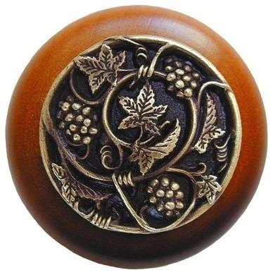Grapevines Wood Knob, Antique Brass, Cherry Wood Finish, Antique Brass