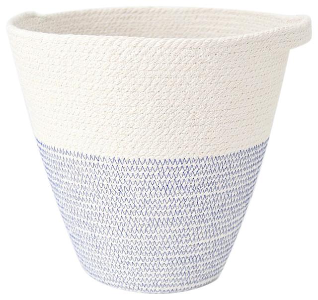 Blue and White Hanging Mediterranean Pot, Medium