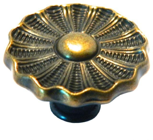 8 Vintage Brass Floral Knob or Pull