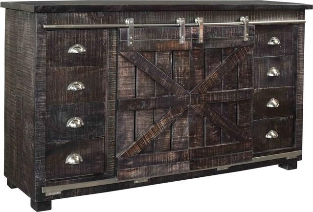 Credenza Dark Brown : 8 drawer 2 sliding door credenza rustic entertainment centers