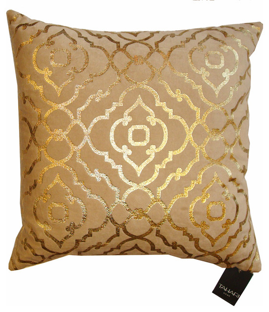 Tahari Down Pillow Mod Gold Print On Velvet Contemporary Awesome Tahari Home Decorative Pillows