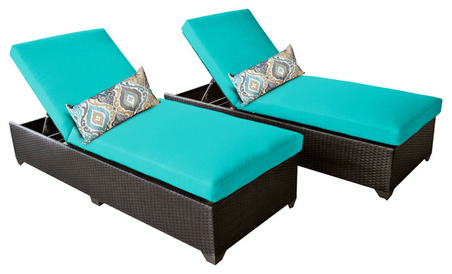 Classic Outdoor Patio Wicker Chaises, Aruba, Set Of 2.