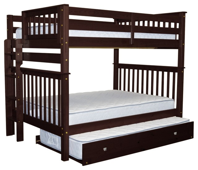 Bedz King Bunk Beds Full Over Full With End Ladder And Twin Trundle, Cappuccino.