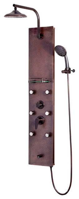 Sedona ShowerSpa Hammered Copper Shower Panel with Oil-Rubbed Bronze