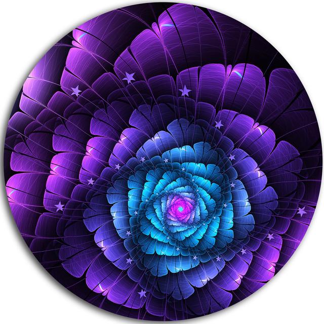 "Purple Fractal Flower In Dark, Floral Abstract Disc Metal Wall Art, 38""."