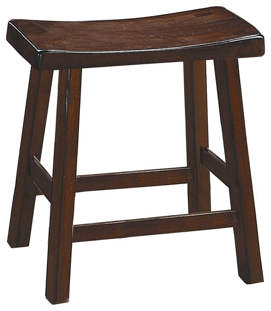 Marvelous Wooden 18 Counter Height Stool With Saddle Seat Warm Cherry Brown Set Of 2 Machost Co Dining Chair Design Ideas Machostcouk