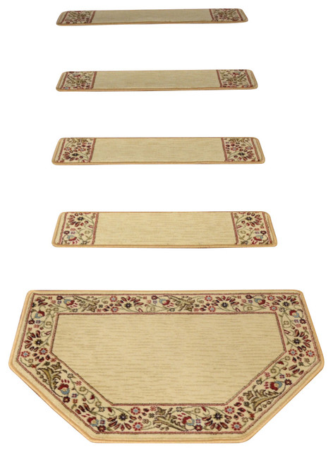 Tape Free Carpet Stair Treads Talas Floral Beige With Mat