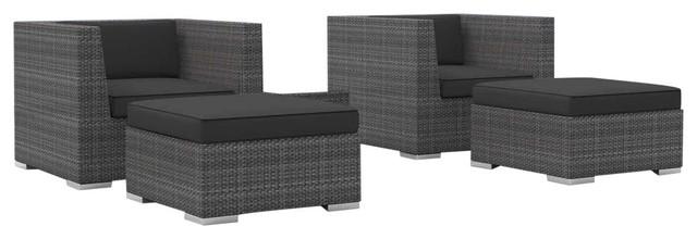 Curacao Outdoor Backyard Wicker Rattan Patio Furniture 5 Piece Set Charcoal Tropical