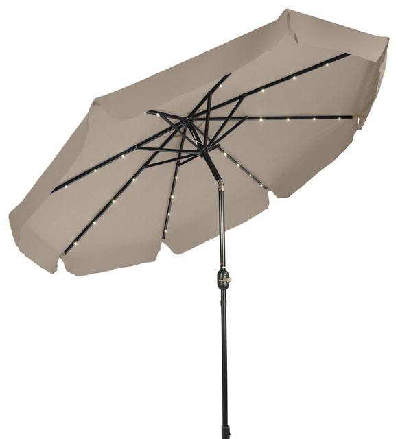 Deluxe Solar-Powered Led-Lighted Patio Umbrella, Decorative Edges, Tan, 9&x27;.