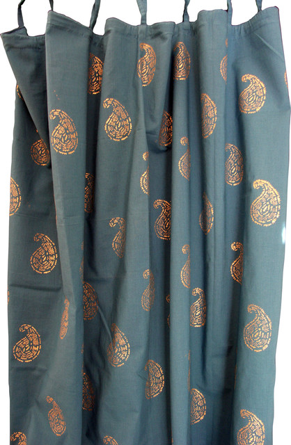 Pair Of Hand Block Printed Curtains  47w X 92  Each Curtain.