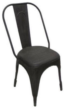 Industrial Dining Chair, Raw Metal