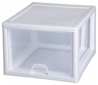 Sterilite 27 Quart Clear Stacking Drawer 23108004 Pack