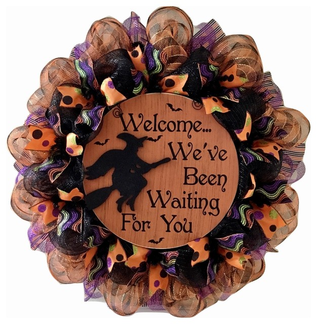 Halloween Witch Wreath 28 Inch Welcome We&x27;ve Been Waiting For You Deco Mesh.