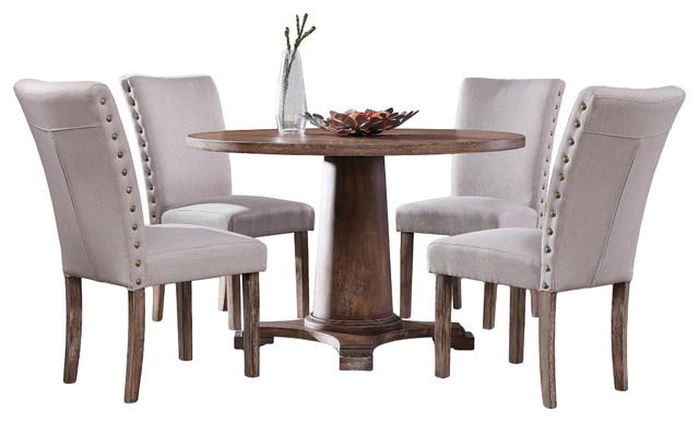 Carey Antique Style Natural Oak Round Dining Set, 5 Piece Set Contemporary