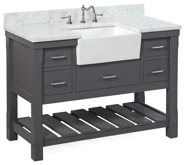 "Charlotte Bathroom Vanity, Charcoal Gray, 48"", Carrara Marble Top, Single Sink"