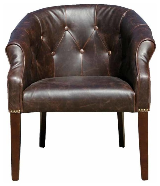 Antique Style Leather Tub Chair, Distress Brown - Antique Style Leather Tub Chair - Traditional - Armchairs And Accent