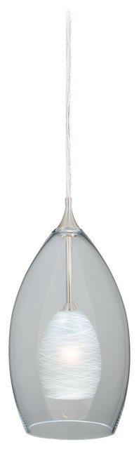 """Milano 5"""" Mini Pendant Light, Outer Clear And Inner Cocoon Inner Glass."""