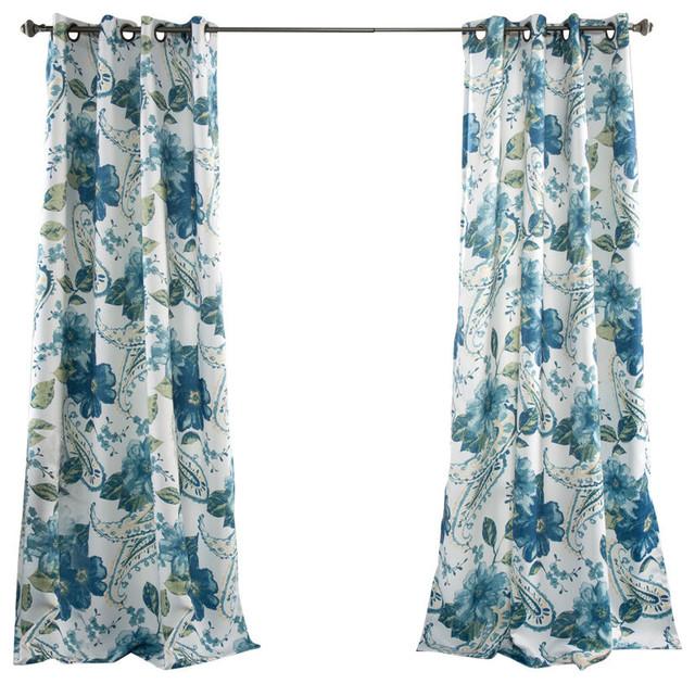 Floral Paisley Window Curtain Set, Blue.