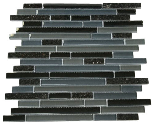 Zen Dark Kettle Black Blend 12x12 Granite Amp Glass Mosaic