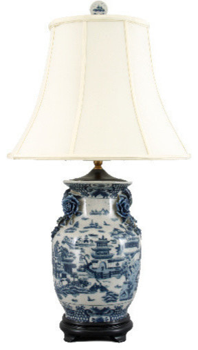 Blue Willow Porcelain Lamp