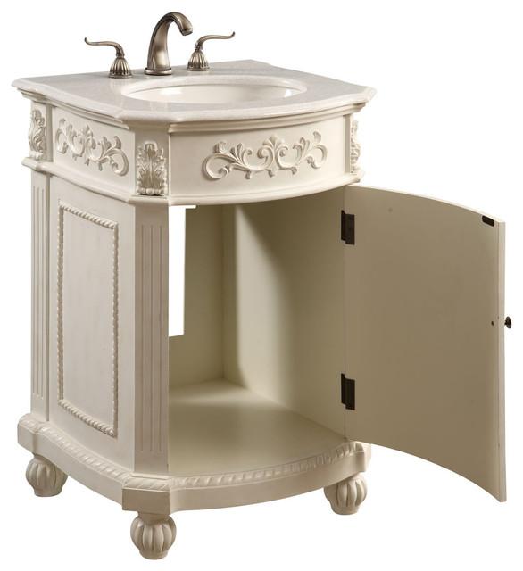"""Lulu 1-Door Vanity Cabinet, Antique White, 24"""""""