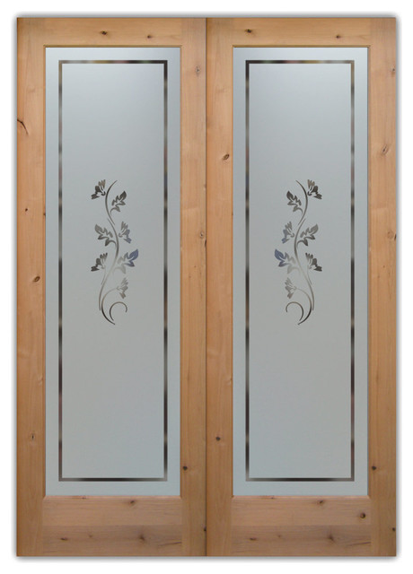 Oak Leaves Pantry Doors Etched Glass