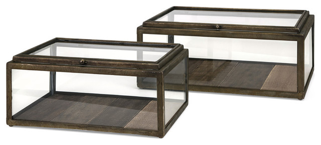 Winthorp Glass And Wood Boxes, 2-Piece Set.