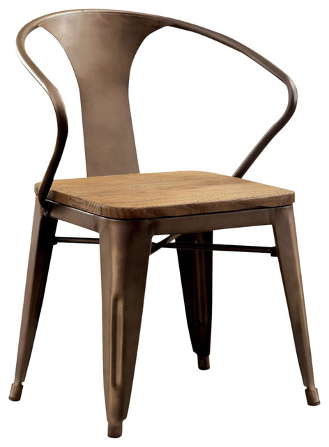 Cooper I Industrial Side Chair, Naturl Elm Finish, Set Of 2.