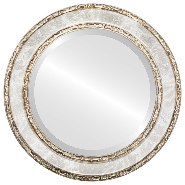 Monticello framed round mirror in champagne silver for Round silver wall mirror