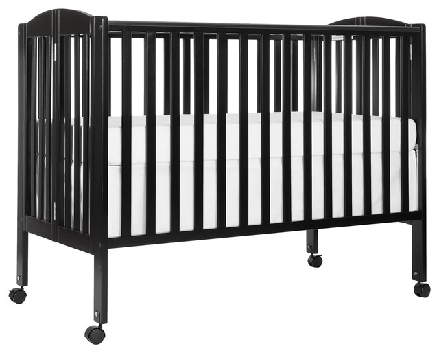 Dream On Me, Folding Full Size Crib, Black