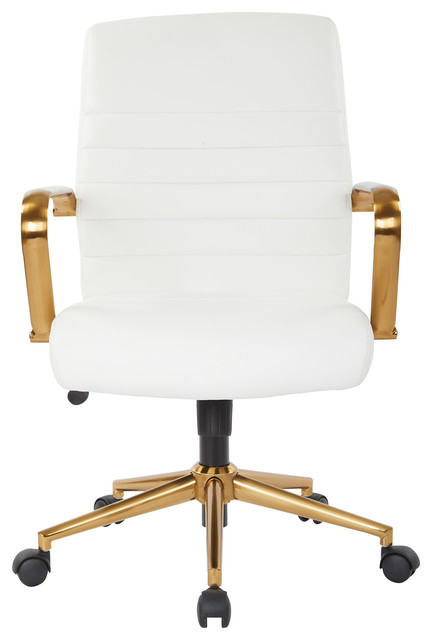 Mid-Back Faux Leather Chair With Gold Arms And Base, White.