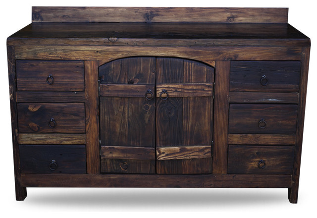 old world reclaimed barnwood vanity - rustic - bathroom vanities