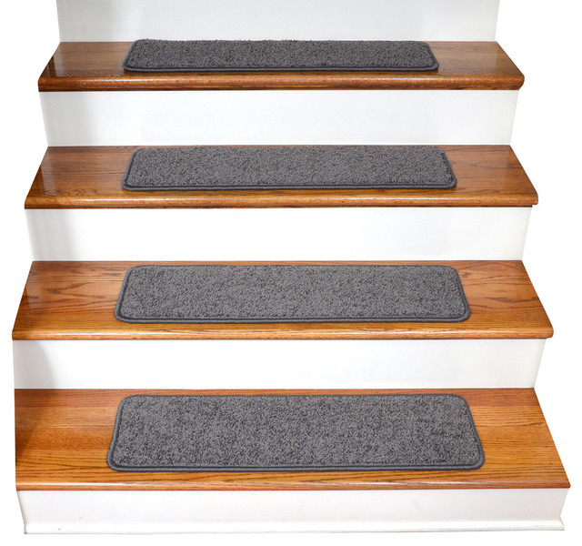 Premium Tape Free Non Slip Carpet Stair Treads, Dynasty Gray, Set Of 15