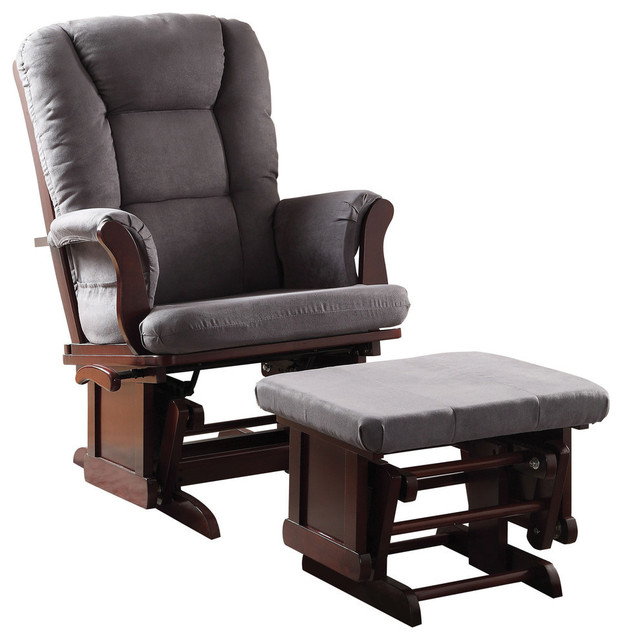 Acme Aeron 2-Piece Glider Chair and Ottoman, Gray and Cherry by Acme Furniture