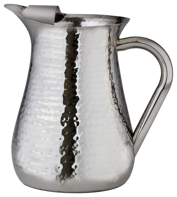 Elegance Hammered Stainless Steel Pitcher Ice Guard 72 Oz