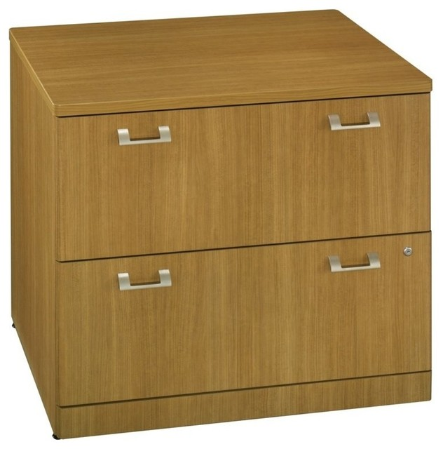 "Shop Houzz | Bush Business Furniture Bush BBF Quantum 36"" 2-Drawer Lateral File in Modern Cherry ..."