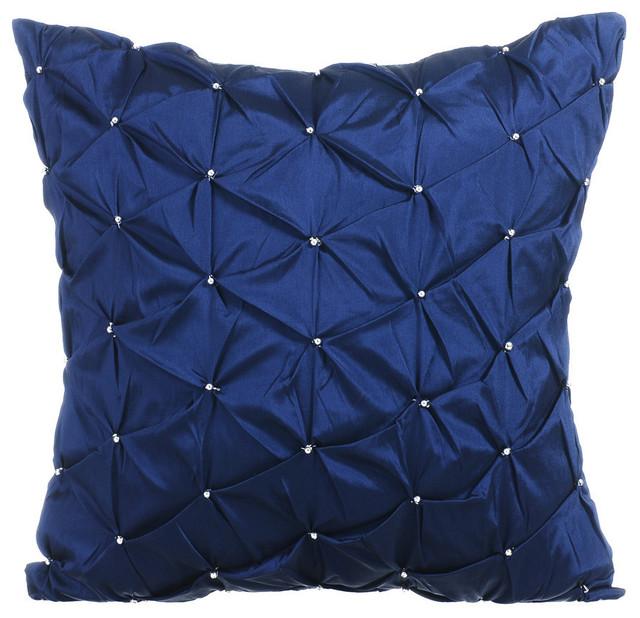 Textured Pintucks 16 X16 Taffeta Navy Blue Pillows Cover Night Texture Contemporary Decorative By The Homecentric
