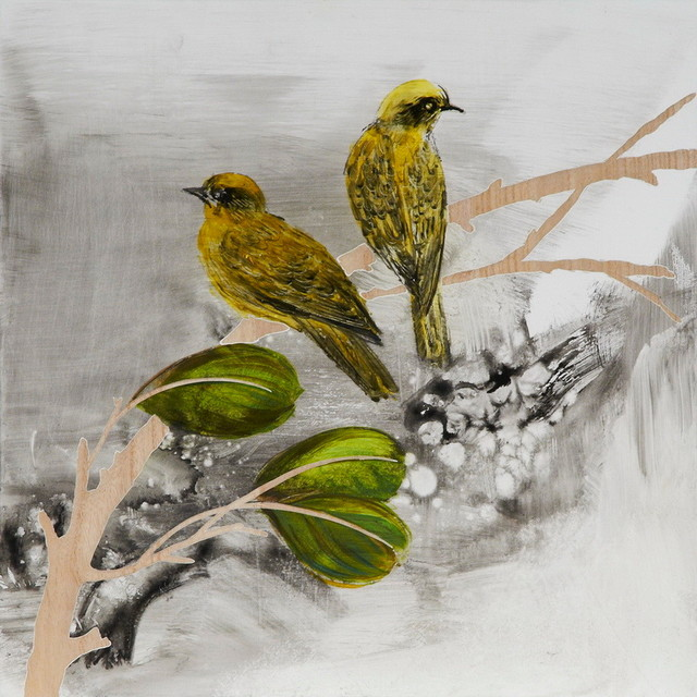 Hand Painted Golden Songbirds Wall Panel 16 Quot X16