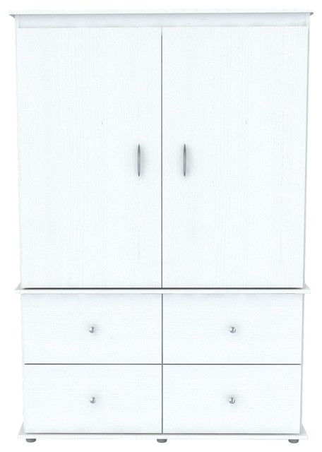 Inval Video Av/2-Door, 4-Drawer Armoire, Larcinia, White.