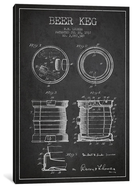 """Beer Keg Patent Blueprint"" by Aged Pixel, 60""x40""x1.5"""