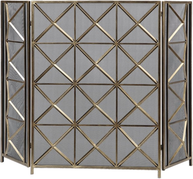 Uttermost Akiva Champagne Fireplace Screen
