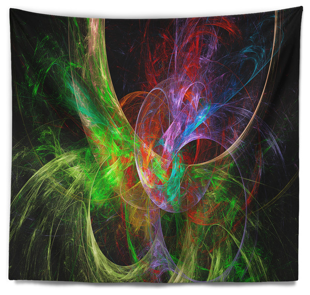 Excellent Multi Color Fractal Abstract Design Abstract Wall Tapestry Home Interior And Landscaping Staixmapetitesourisinfo